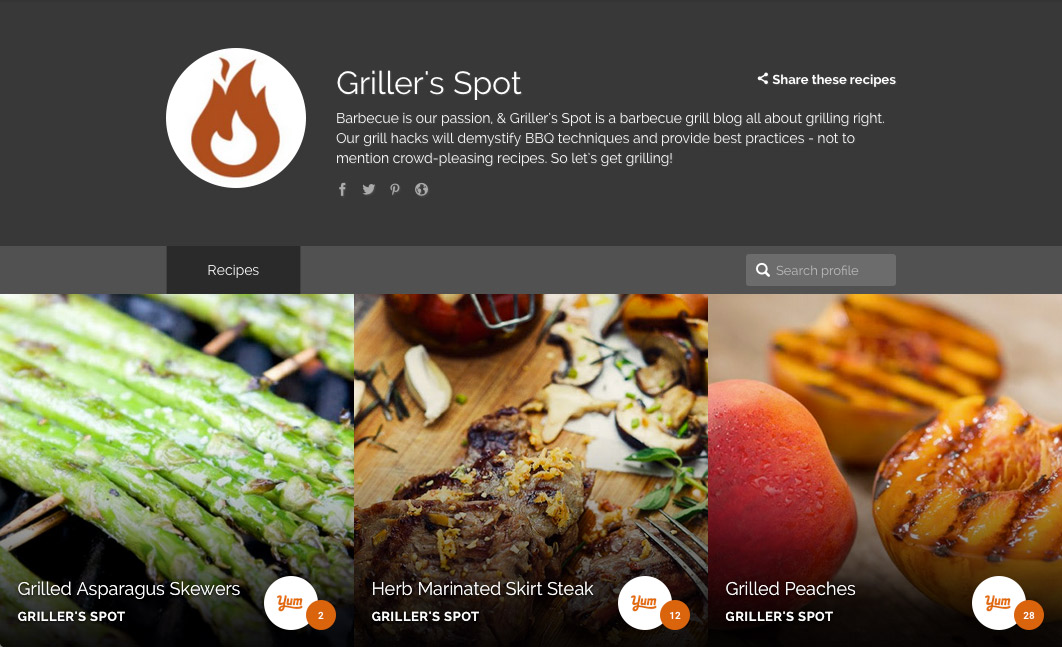 Griller's Spot Yummly Profile