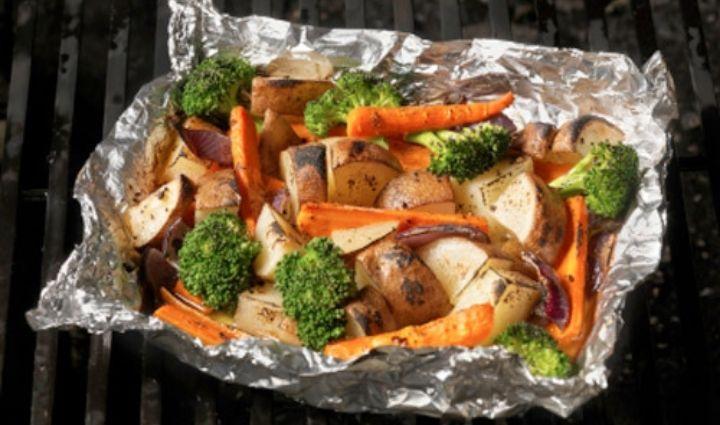 vegetables grilled in foil pack on bbq